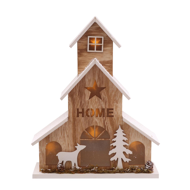 Scala Di Legno Decorativa dettagli su decorazione natalizia casetta in legno con led