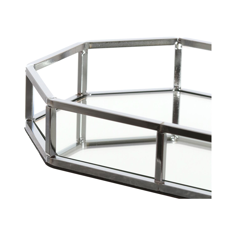 Vassoio ottagonale con base a specchio